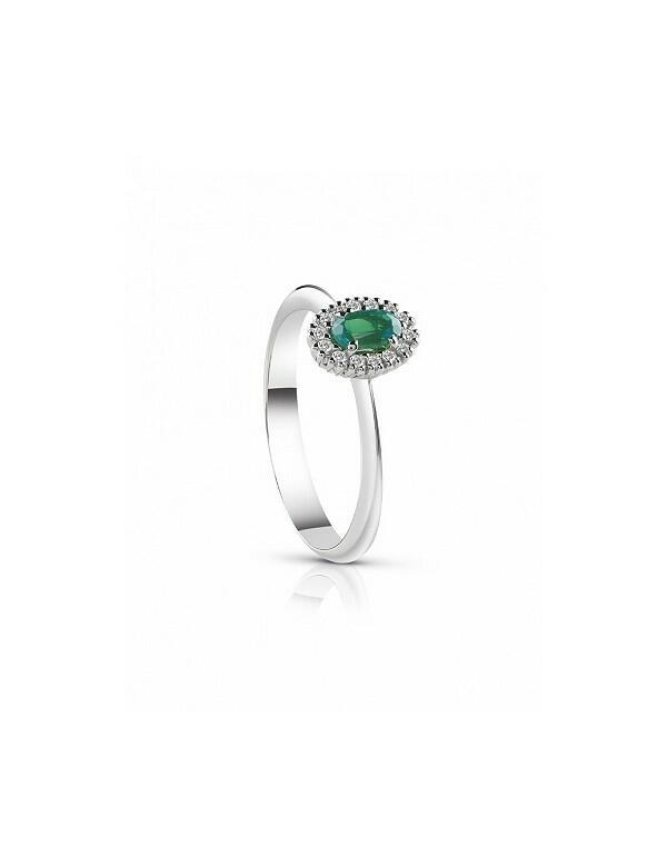 Anello Oro Bianco Diamanti e Smeraldo