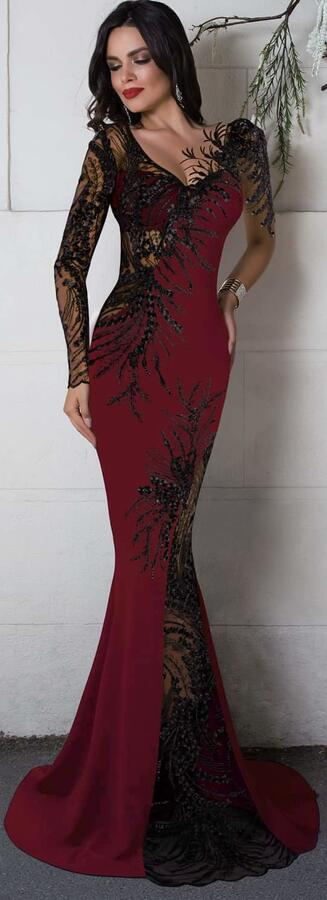0686 LONG SIREN BORDEAUX DRESS IN ELASTIC CREPE FABRIC WITH TRANSPARENCY IN TULLE AND MACRAME'