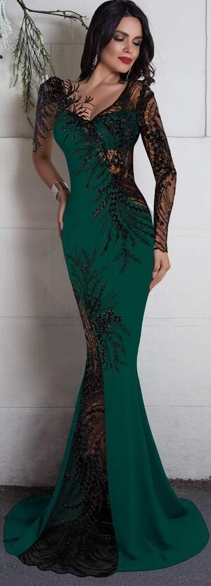 0687 LONG SIREN GREEN DRESS IN ELASTIC CREPE FABRIC WITH TRANSPARENCY IN TULLE AND MACRAME'