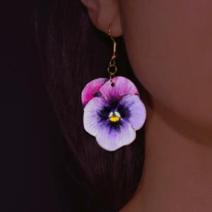 Orecchino Violetta - dipinto e lavorato a mano