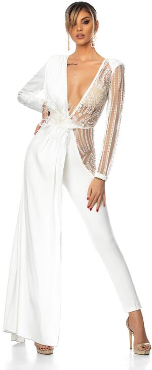 0690 JUMPSUIT WITH WHITE TULLE AND MACRAME 'SIDE PANEL