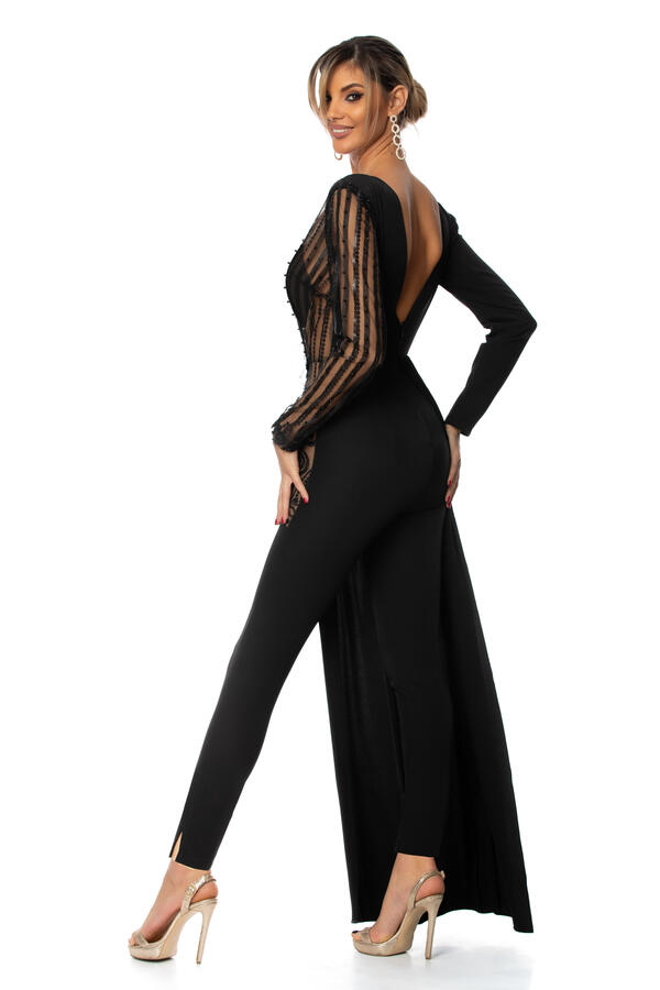 0691 JUMPSUIT WITH BLACK TULLE AND MACRAME 'SIDE PANEL