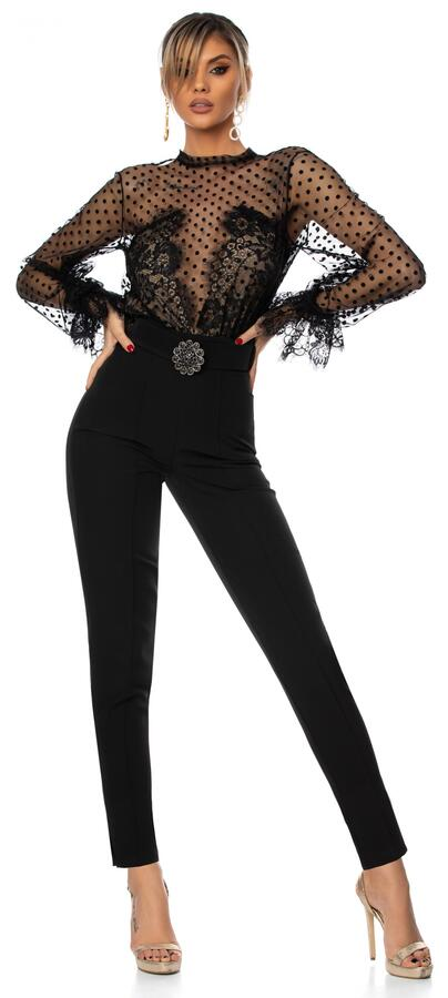0692 POPLIN JUMPSUIT WITH POLKA DOT TULLE NUDE BODY AND BLACK MACRAME 'LACE