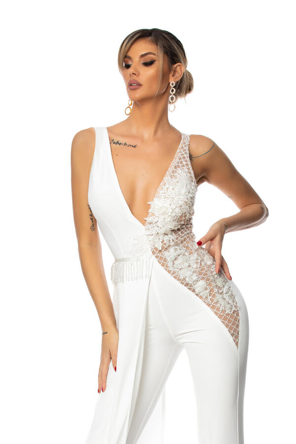 0693 JUMPSUIT WITH WHITE TULLE AND MACRAME 'SIDE PANEL