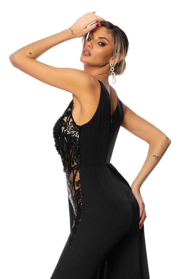 0694 JUMPSUIT WITH BLACK TULLE AND MACRAME 'SIDE PANEL