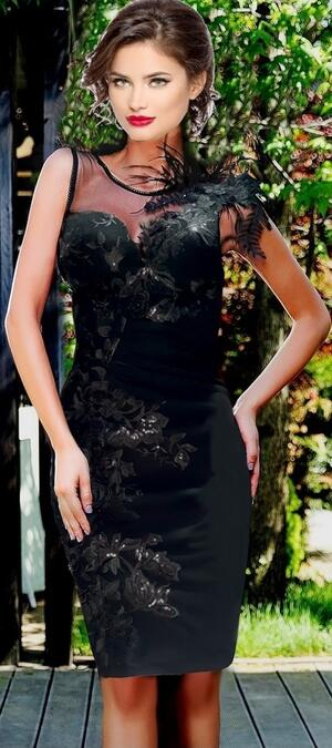 0695 TUBE TOTAL BLACK CREPE WITH MICRO SEQUIN EMBROIDERED TULLE AND MACRAME LACE