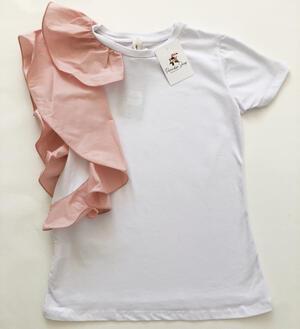 T-shirt in cotone con dettaglio volant