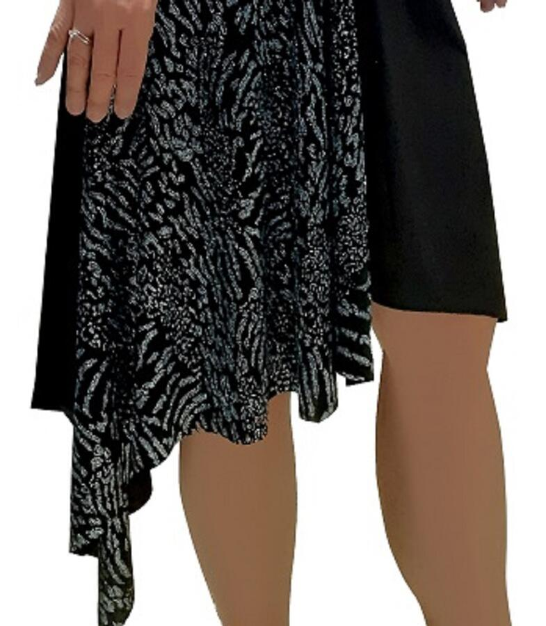 DRESS FOR DANCE AND TANGO WITH ASYMMETRIC CUT BRILLIANT ON ONE SIDE 4-0130