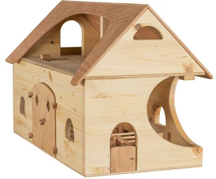 Casa delle bambole Fattoria in Legno Massello di Pino Con Interni  Scala e Accessori di Verneuer
