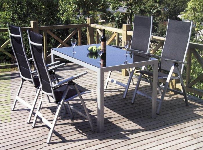 Set tavolo alluminio 160 x 90 con 4 sedie grigio - Tavolo vetro temperato opinioni ...