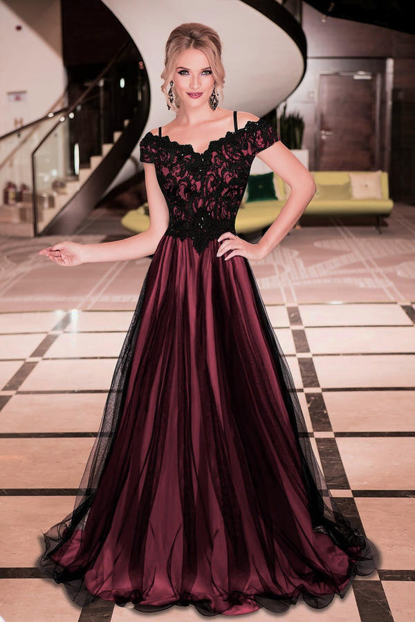 0439 LONG EMPIRE DRESS IN TULLE AND MACRAME 'LACE LINED IN CORAL COLOR SATIN