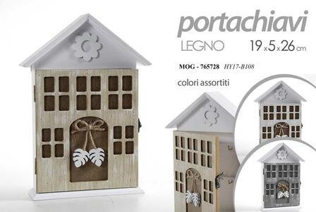 Casetta Portachiavi da Parete Muro in Legno Decorato Decorativo Stile Shabby Arredamento Casa 19x5x26cm