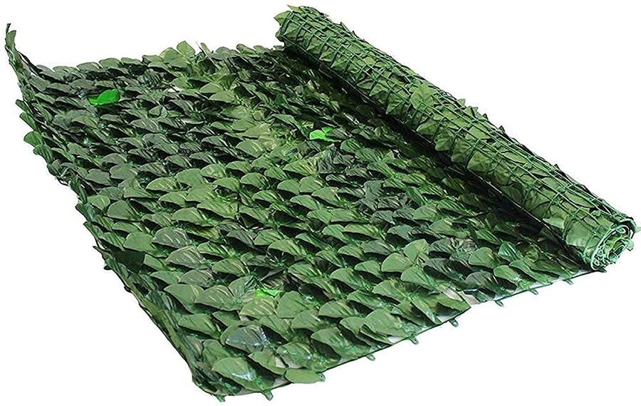 Recinzioni Decorative Siepe Artificiale Sintetica Foglie di Edera in Rotolo per Ringhiere Giardini Esterno 1x3M