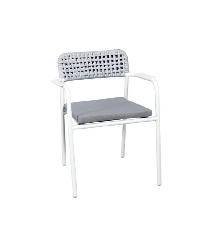 Sedia da giardino professionale SEDIA OKLAHOMA in alluminio bianco MCH 02