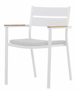Sedia da giardino professionale MALIBU in alluminio bianco e teak MCH 03 B