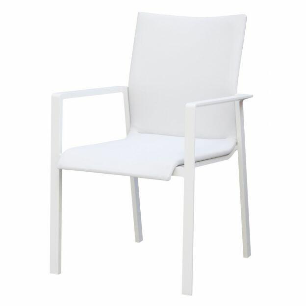 Sedia da giardino imbottina SANTA FE in alluminio bianco MCH 05