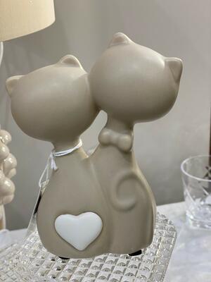 Gattini in ceramica con cuore