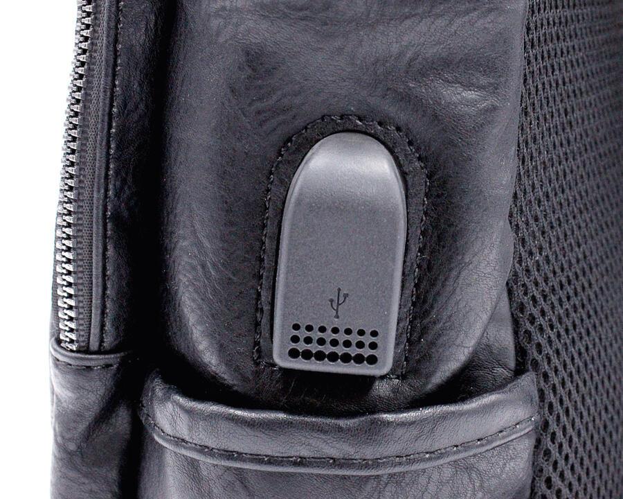 Zaino notebook Wil Demulder London in pelle nera unisex usb
