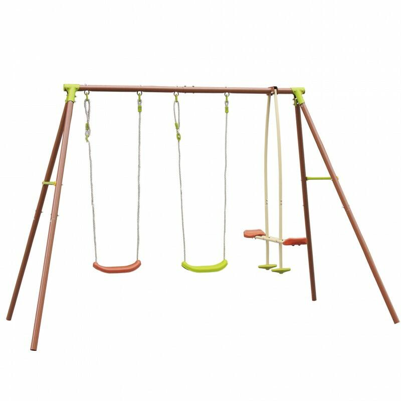 Altalena da giardino per bambini MINERVA 4 POSTI con cavalluccio dondolo doppio PESANTE