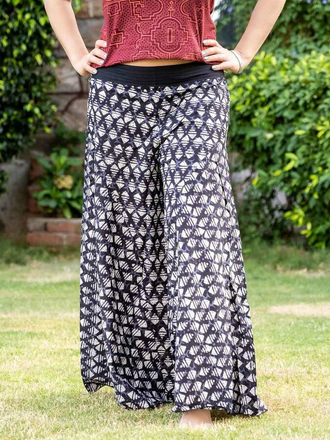 Pantalone donna lungo Ekta gamba larga - rombi grigio nero