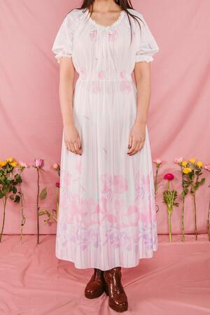 Abito bianco fiori rosa anni 70