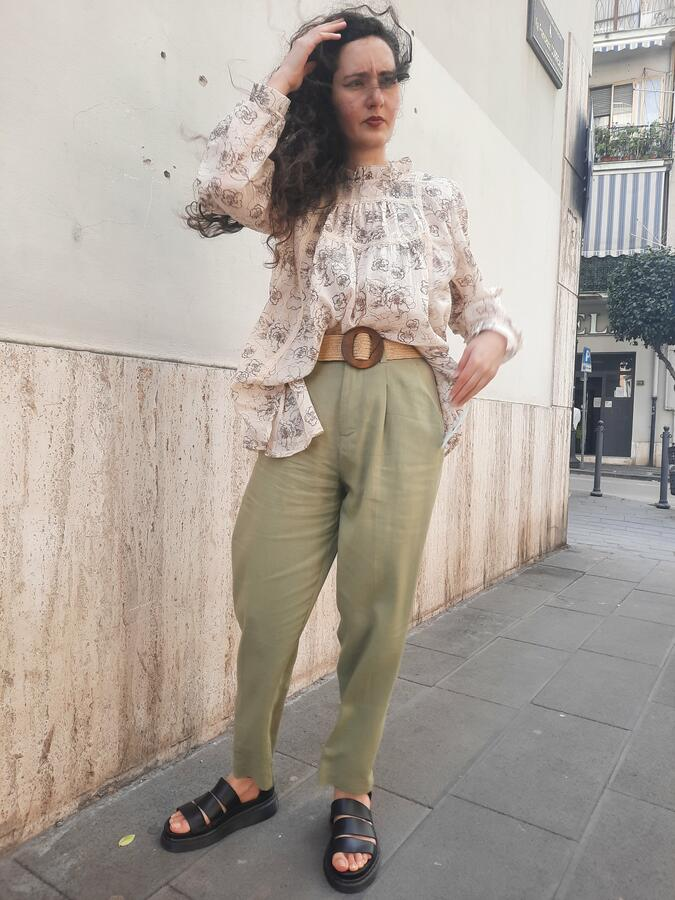 Pantalone lino oliva