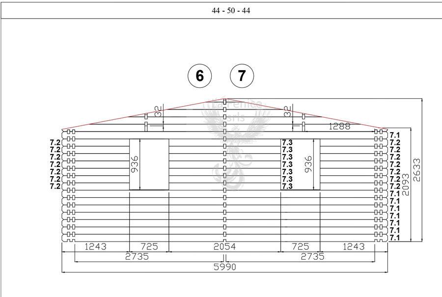 Casetta in legno 6,00 m x 6,00 m - Mod. Fiona - 44 mm