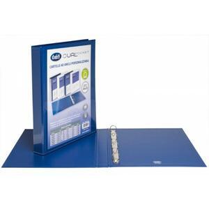 Cartella personalizzabile Dual Pocket blu a 4 anelli tondi diametro 20 mm - BUFFETTI 7646E2010