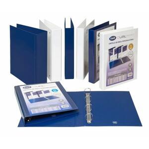 Cartella personalizzabile Dual Pocket blu a 4 anelli quadri diametro 65 mm - BUFFETTI 7646E6510
