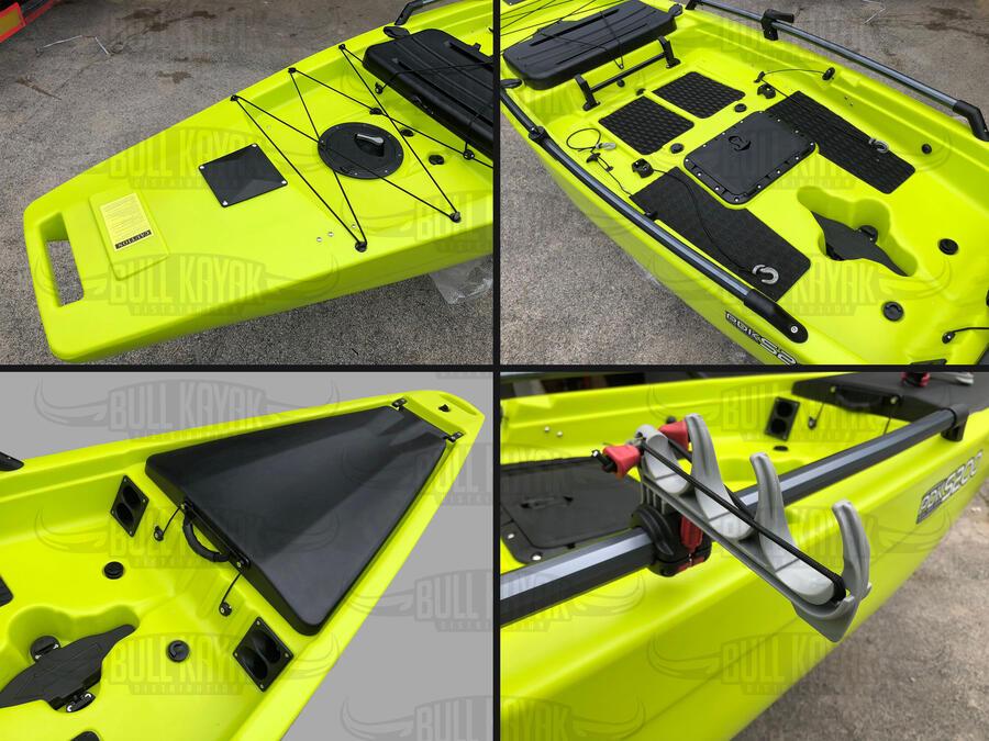 PDK S200 Fishing 417 Bull Kayak 6 portacanne, supporto ecoscandaio, 2 supporti reggi canne, 4 gavoni, skeg, pagaia
