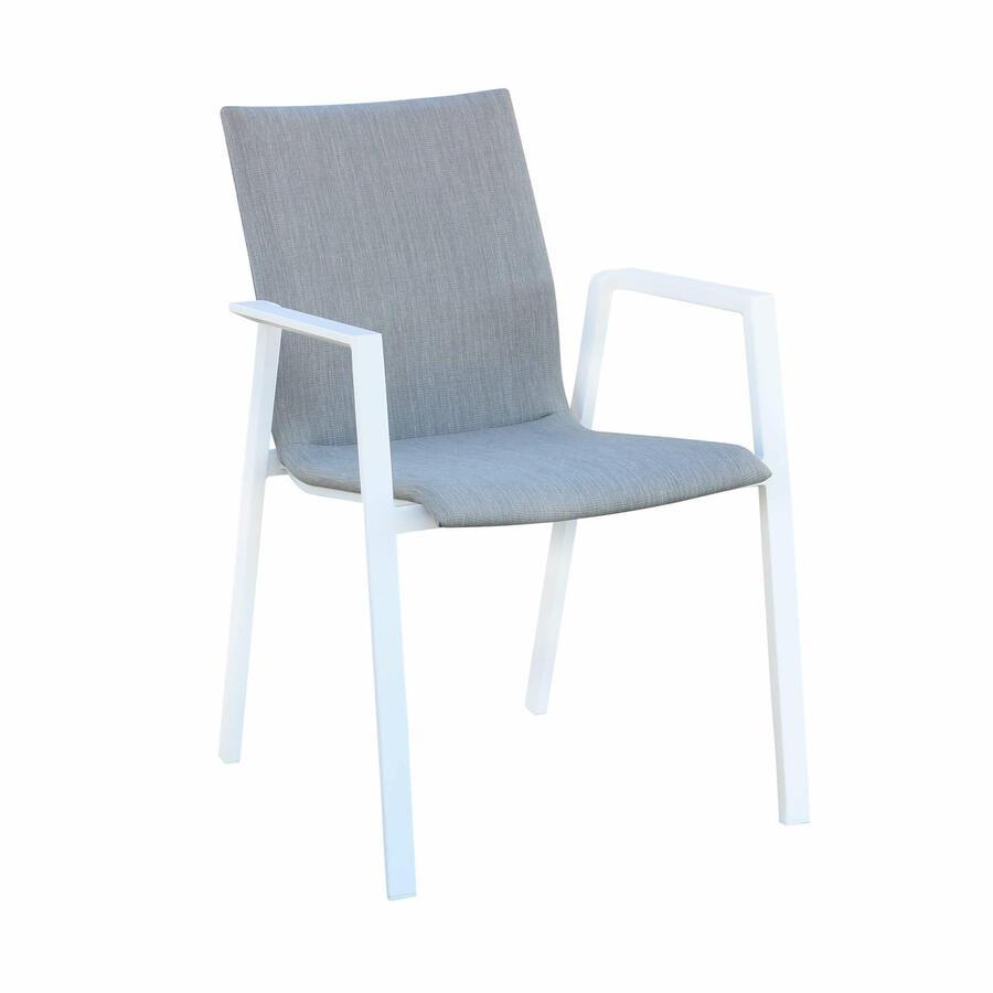 Sedia da giardino impilabile RUGGERO in alluminio BIANCA