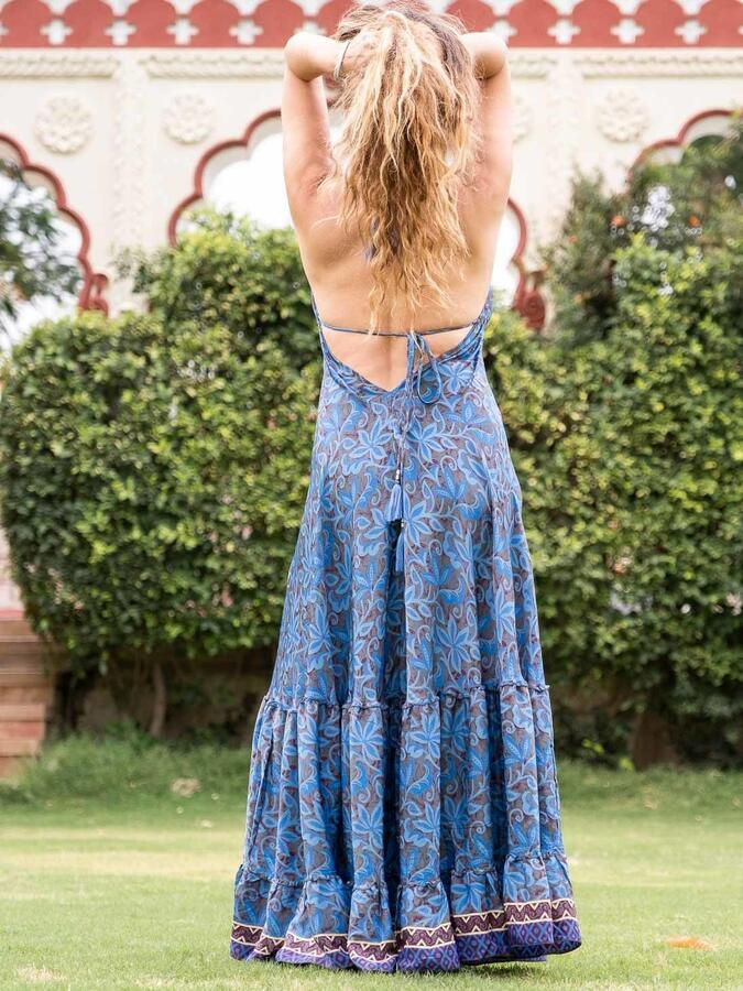 Vestito lungo Brinda allacciatura bikini - fiorato blu