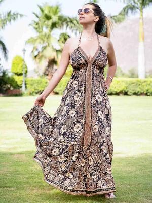 Vestito lungo Brinda allacciatura bikini - oro e nero