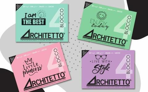 ALBUM DA DISEGNO PASTEL  BLOCCO 4 ARCHITETTO LISCIO SQUADRATO