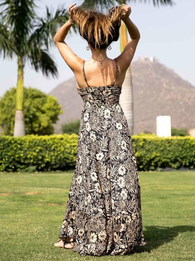 Vestito seta lungo Lali stile romantico - oro nero