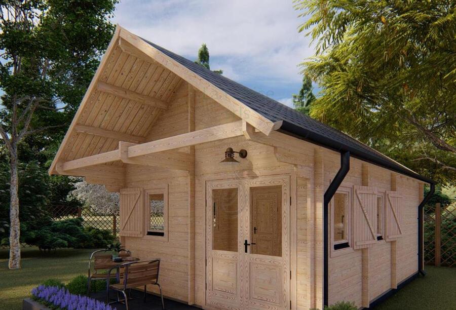 Casetta in legno Mod. Diletta 4,50 m x 7,50 m - 44 mm. - Soppalco e Veranda INCLUSI