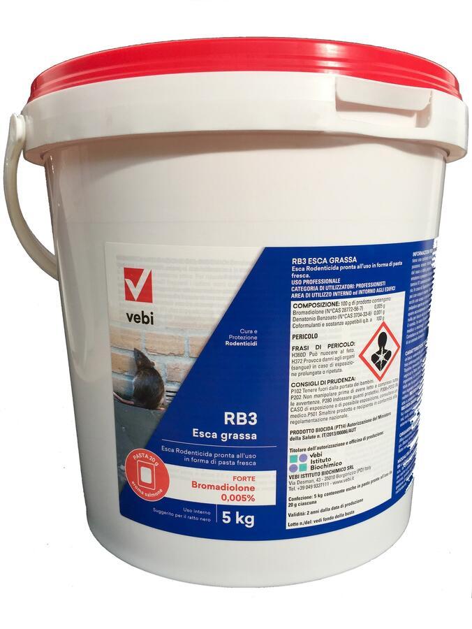 RB3 Esca grassa Esca rodenticida Professionale in bocconi di pasta aromatizzati al salmone secchio 5 kg