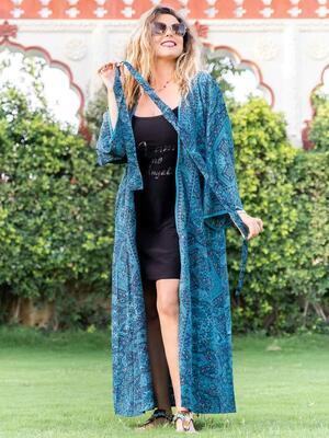 Kimono donna Kirti lungo - blu turchese