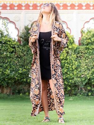 Kimono donna Kirti lungo - arancio nero e oro