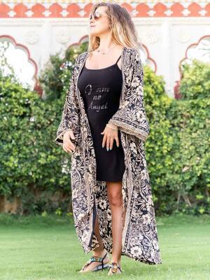 Kimono donna Kirti lungo - oro nero