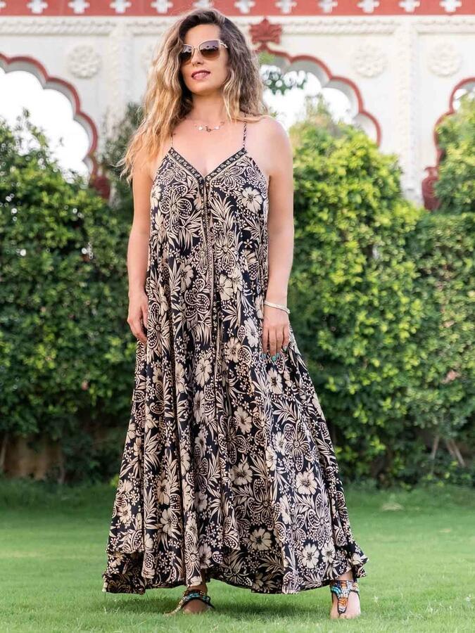 Vestito lungo Mamata a farfalla - oro nero