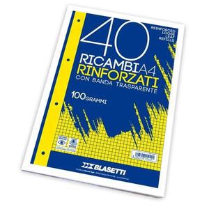RICAMBI RINFORZATI A4 40 FOGLI 100 GR C BLASETTI