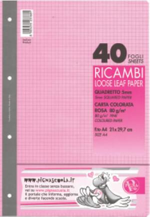 RICAMBI A4 40 FOGLI ROSA 80 GR 5MM PIGNA