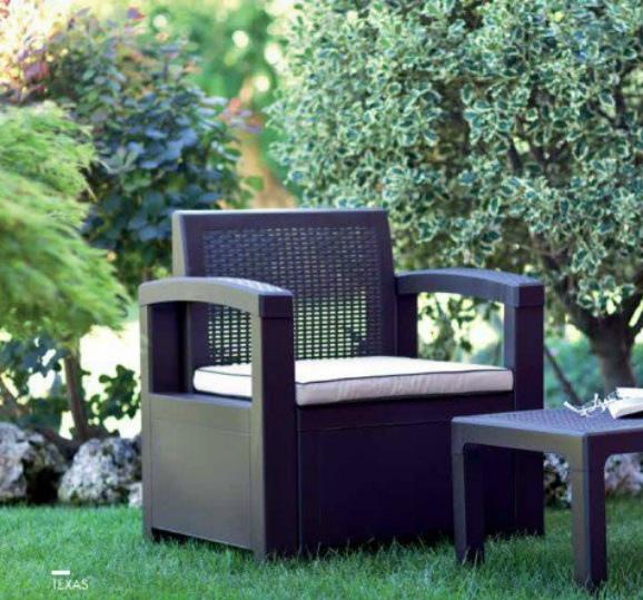 Set salotto da giardino in polipropilene TEXAS 2 FILIPPO MARRONE resina rattan da giardino bar con divano 2 poltrone e tavolino e cuscini