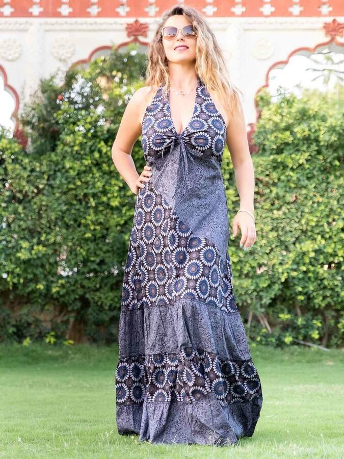 Vestido largo Aparna con volantes en dos tonos - florido azul y gris
