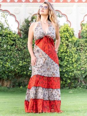 Vestito donna lungo Aparna a balze bicolor - grigio arancione / rosso