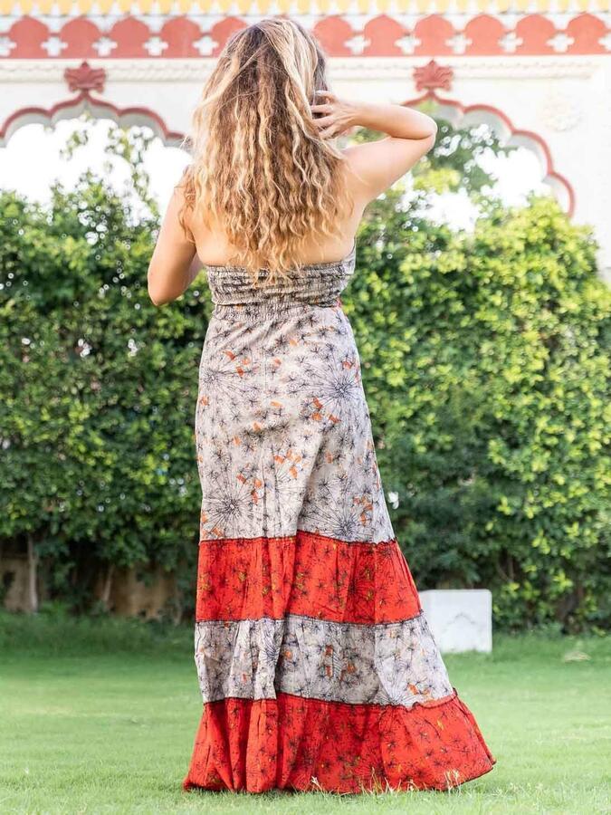 Long dress woman Aparna bicolor flounces - red / gray orange