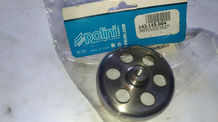 Ricambio Minimoto Polini . Campana Frizione Steel . D.80 .Nuova