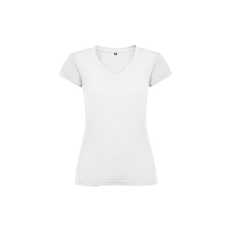 T-shirt donna scollo a V bianco colore 01 manica corta