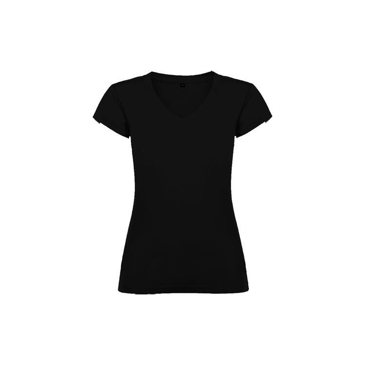 T-shirt donna scollo a V nero colore 02 manica corta